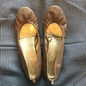 J Crew tan ballet slippers with stud details